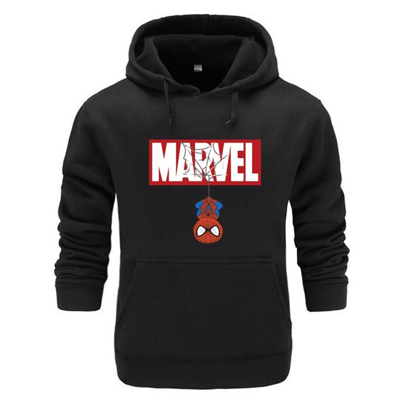 2019 nueva marca Spiderman Hoodies hombres de alta calidad manga larga Casual hombres sudadera Hoodies marvel estampado Sudadera con capucha chándales hombre