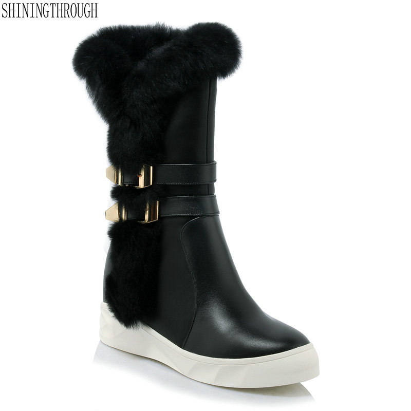 New height increasing high heels snow Boots woman sexy platform mid-calf Boots 2019 winter Femal Shoes цена