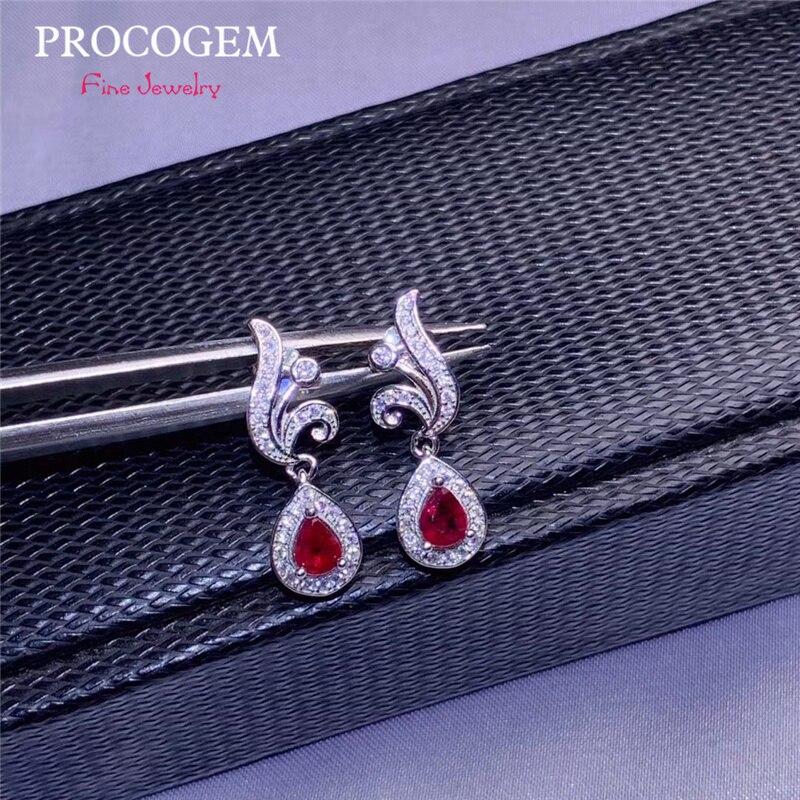 Boucles d'oreilles goutte rubis naturel balancent pour les cadeaux de fête des femmes véritable pierre gemme or blanc bijoux fins 925 argent Sterling #643