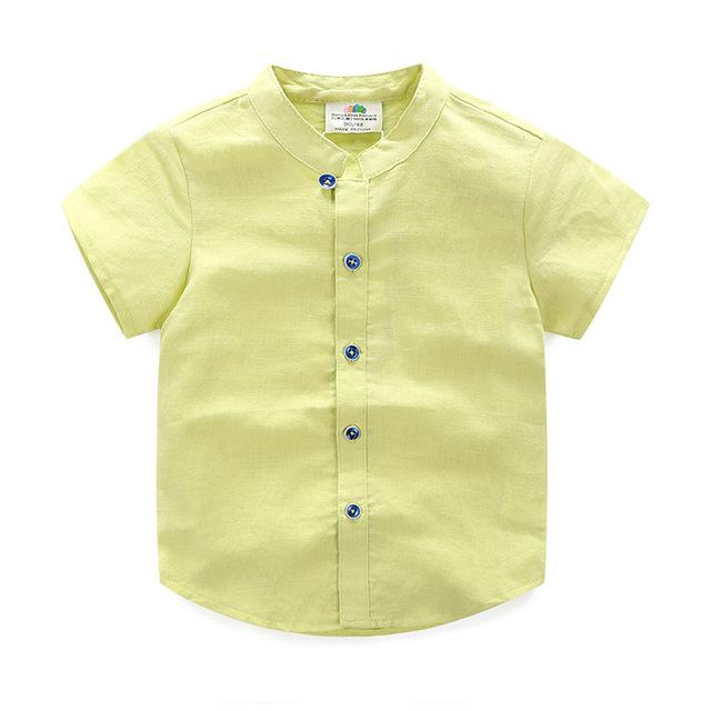 Niños Camisetas de Verano Sólido T Camisa de Chico Con Cuello En V Manga Corta Camiseta de Los Niños Niños de La Manera Ropa 2385 W
