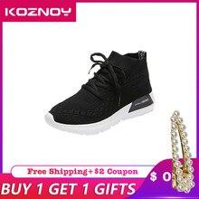 Koznoy Sneakers Women Spring Dropshipping Korean Version White Shoes Comfortable Leisure Fashion Flat Bottom