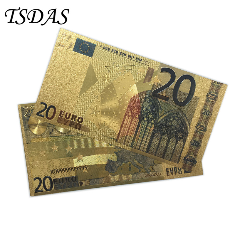 Rare Gold <font><b>Banknote</b></font> <font><b>20</b></font> <font><b>Euro</b></font> Notes Collection .999 Pure Bill 24K Gold Plated 10pcs/lot For Home Decor image