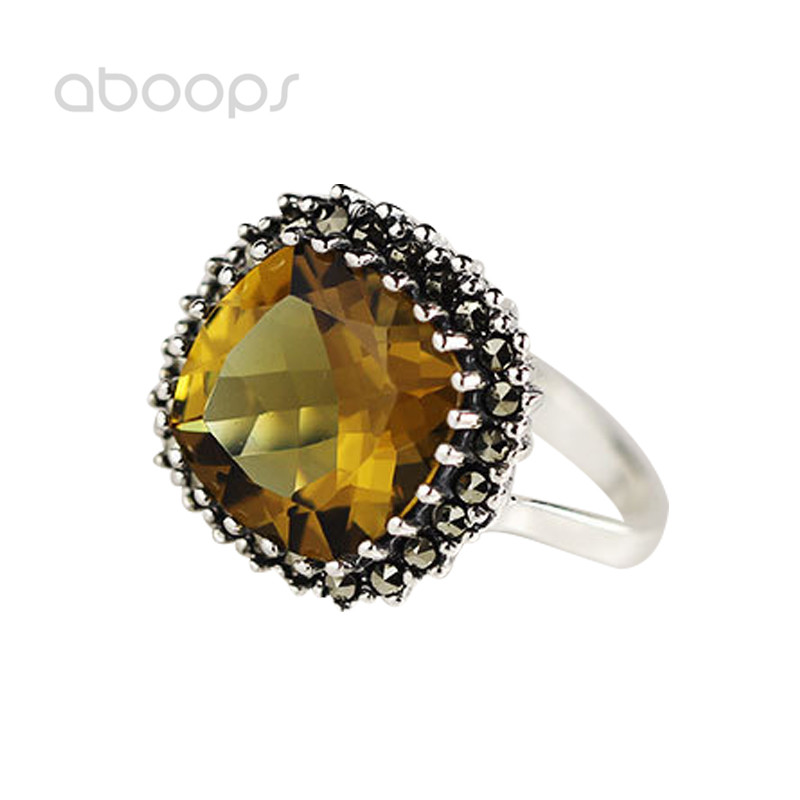 Vintage 925 Sterling Silver Yellow Stone Ring for Women Girls Size 6.5 7 7.5 Free Shipping