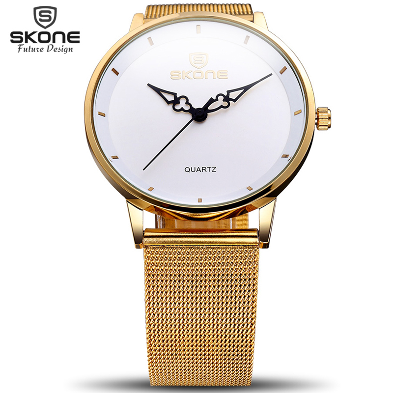 SKONE Ultra Thin Dial Gold Watches Women Fashion Dress Steel Mesh Band Wrist Man Watch Lady Hour Relojes Mujer Relogio Feminino