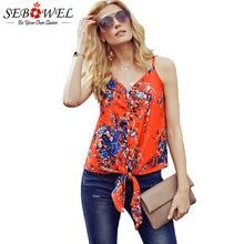 SEBOWEL Summer Woman Sleeveless V Neck Spaghetti Straps Vest 2019 Female Floral Striped Print Tie Knot Plus Size Tank Tops S-XXL недорого