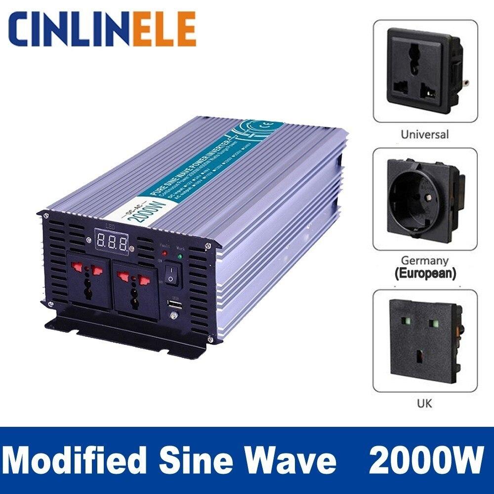 Smart Modified Sine Wave Inverter 2000W CLM2000A DC 12V 24V 48V to AC 110V 220V 2000W Surge Power 4000W smart pure sine wave inverter 2000w clp2000a dc 12v 24v 48v to ac 110v 220v smart series solar power 2000w surge power 4000w