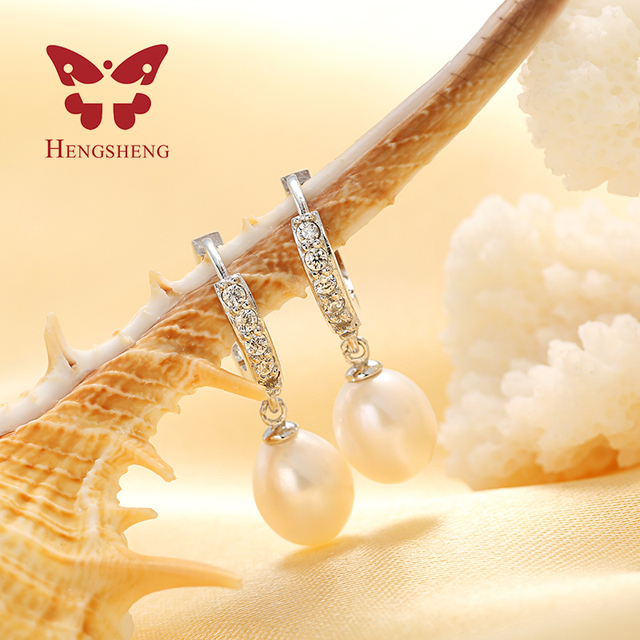 HENGSHENG 100% Genuine pearl jewelry natural pearl earrings cultured freshwater pearls, super deal earring women girl best gifts