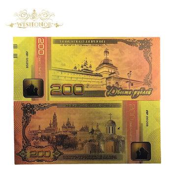 10 sztuk partia 2018 nowy rosja złoty banknotów 200 rubli banknotów w 24 k złoto fałszywe pieniądze papierowe na prezent tanie i dobre opinie Antique sztuczna Patriotyzmu Pozłacane FGHGF 7days after you paid Russia Souvenir collection Gold