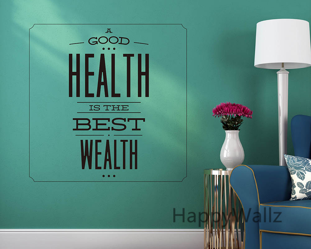 motivational quote wall sticker good health is best wealth inspirational quote wall decal diy. Black Bedroom Furniture Sets. Home Design Ideas
