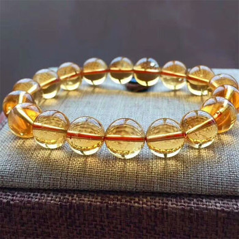 12mm Natural Yellow Citrine Quartz Bracelet For Woman Man Crystal Round Beads Gemstone Stone Stretch Fashion Bracelet AAAAA