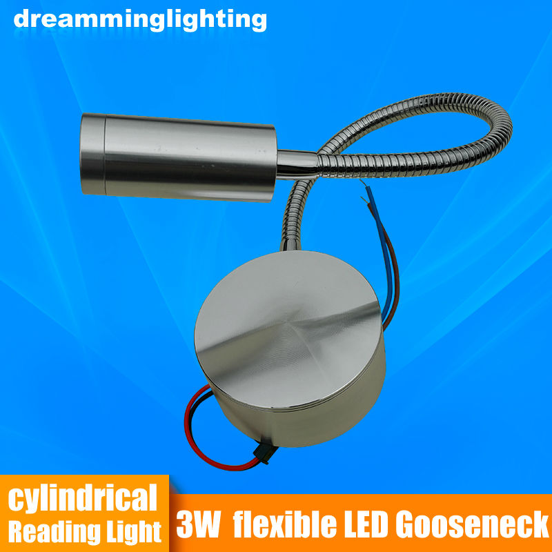 LED Reading Light Fleksibel Trailer RV Bot Bed Wall Meja katil lampu meja cahaya Dinding cahaya / Perak / Hitam 3w 220v / 12v