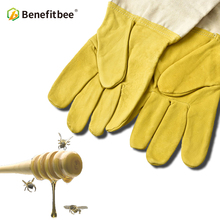 Benefitbee Bee Gloves Sheepskin Anti-bee Apicultura Beekeeping Tools For Beekeeper Protective Glove Canvas Beekeeping Equipment unisex anti bee clothing cotton beekeeper bee clothing bee caps 1pair sheepskin gloves apiculture costume white grey color