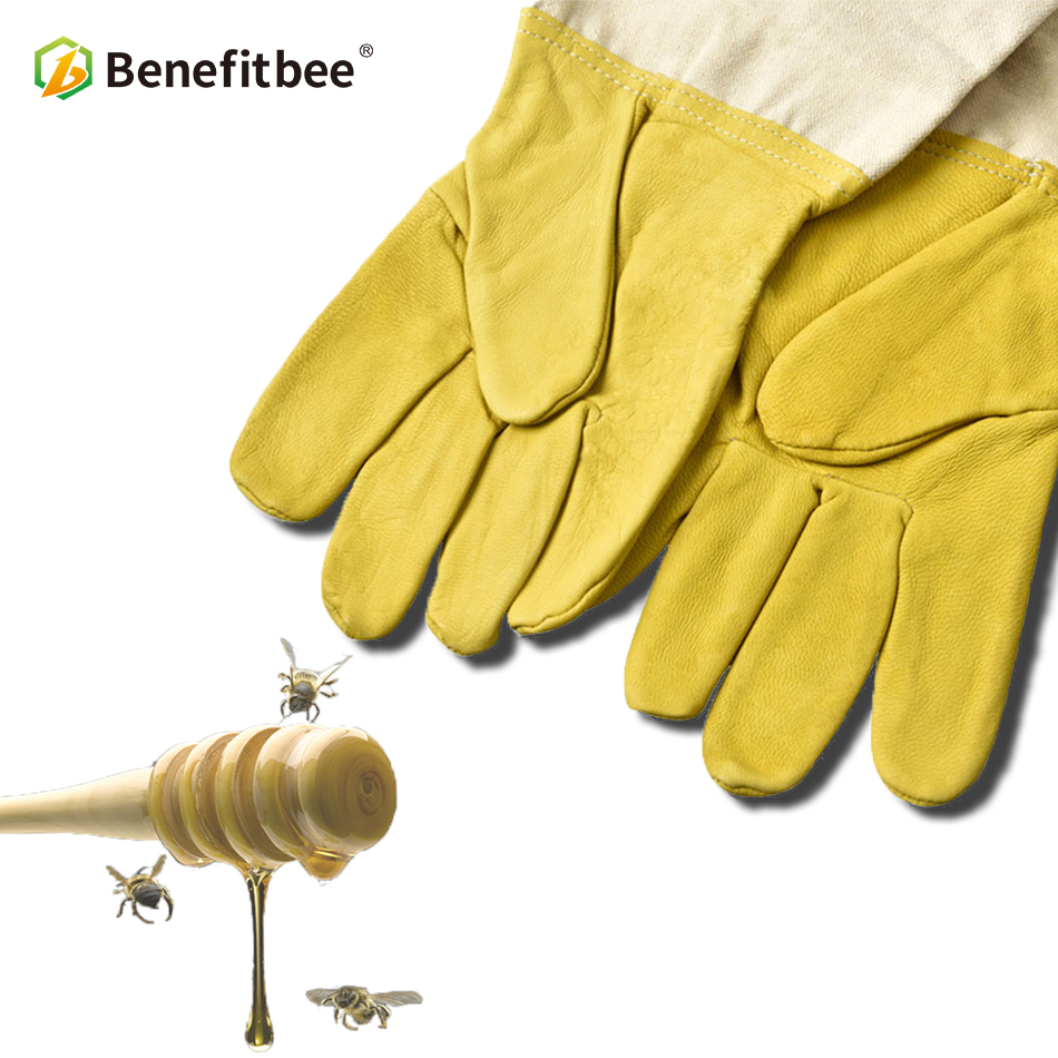 Benefitbee Bee Gloves Sheepskin Anti-bee Apicultura Beekeeping Tools For Beekeeper Protective Glove Canvas Beekeeping Equipment
