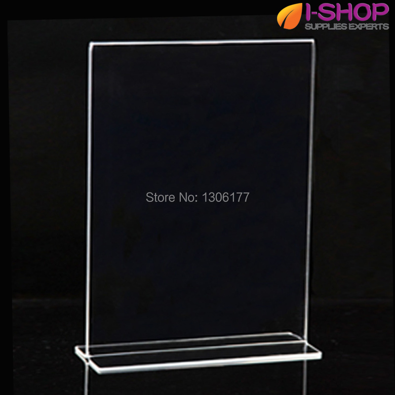 T Shape Stand up Sign Holder Picture Frame Portrait Counter Display ...