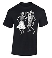 Icustomworld Dancing Skeletons T Shirt Day Of The Dead T Shirt M Black Print Tee Shirt