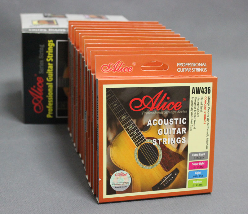 f55fd403952 12 Sets Alice AW436P Hexagonal Core Phosphor Bronze Wound Colourful Ball-End  Acoustic Guitar Strings (.010 .011 .012 .013)