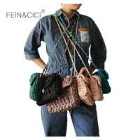 Weave Bag women Handmade Crochet Knitting messenger Bag small mini cute Shoulder Bag summer clutch green white black purple 2019
