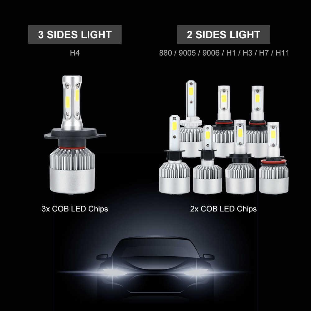 ANBLUB 12V 24V S2 LED Car Headlight 880 H1 H3 H4 H7 H11 9005 9006 72W 6000K COB LED Light Bulb Auto Headlamp Kit