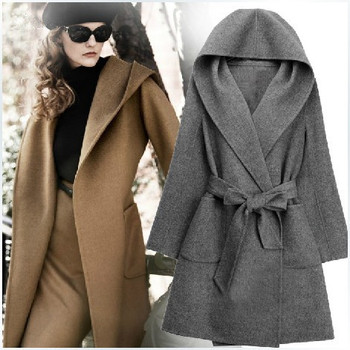 Women Cashmere autumn hooded coat