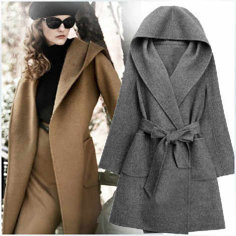 2019 High street Fashion cashmere wool coat women autumn winter jacket loose outwear big size hooded overcoats 3 colors