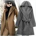 2017 High street Fashion chaqueta de cachemira mujeres abrigo de lana otoño invierno outwear suelta más tamaño con capucha abrigos 3 colores