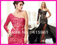 2014 Red Black Sexy One Shoulder Lace Mermaid Long Party Prom Evening Dresses With Sleeves E4918