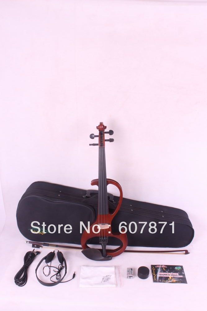 New 4/4 Electric Violin Silent Pickup dark orange Color tone #6-6 4 strings handmade new solid maple wood brown acoustic violin violino 4 4 electric violin case bow included