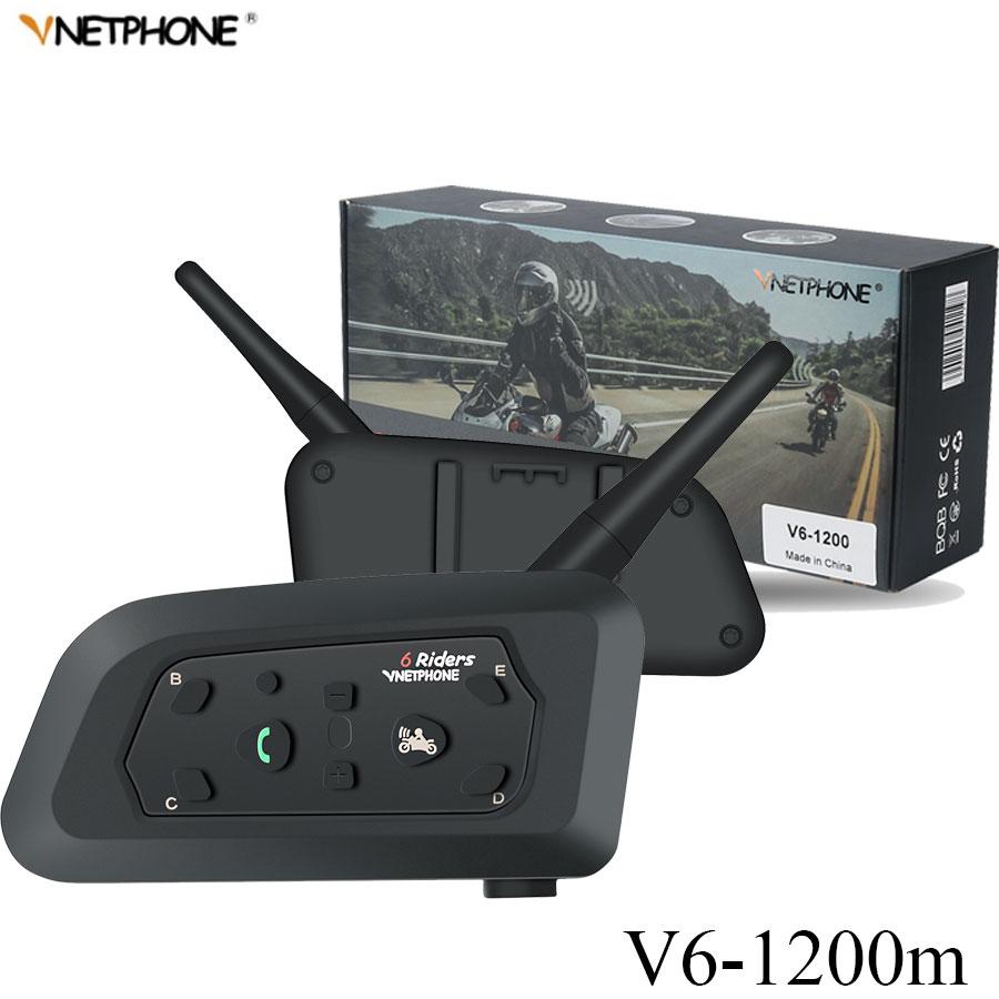 VNETPHONE 2Pcs Wireless Bluetooth Motorcycle Helmet Intercom 1200M 6 Riders Interphone Headset Support GPS mobile communicator