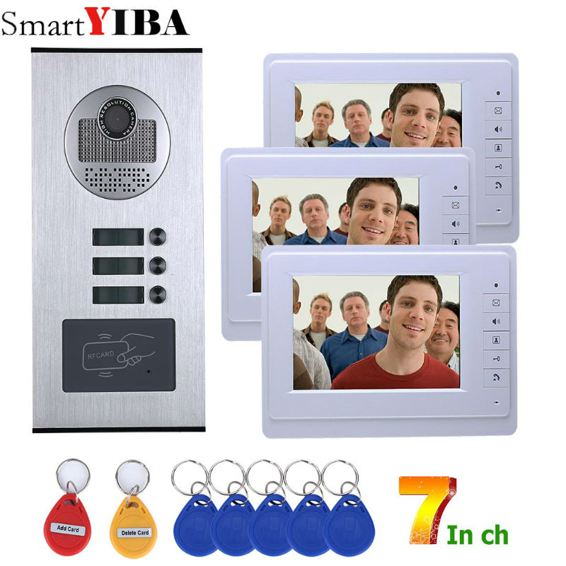 SmartYIBA 7Apartment Video&Audio Door Entry Kit For 3 Rooms Video Intercom Door Phone RFID Access Control Keyboard System