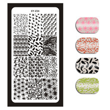 2019 New Rectangle Nail Art Stamp Plates Flower Bird Feather Owl Design Stamping Template Manicure Image XYZ024