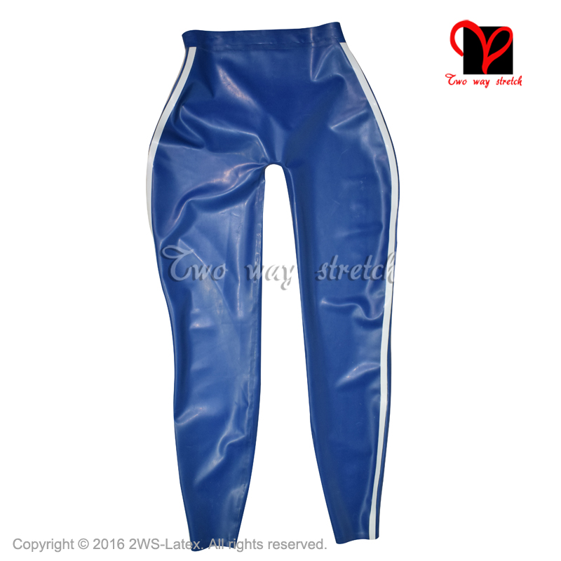 Bleu avec des rayures blanches Latex Legging Sexy en caoutchouc pantalon avec gaine de pénis en caoutchouc pantalon KZ-148 - 2