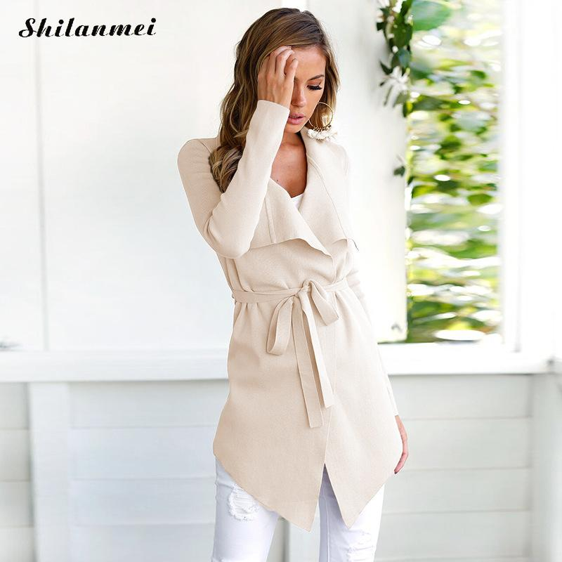 Women Lapel Belt   Trench   Coat Elegant Lace Up Woolen Long Cardigan Overcoat 2019 Spring Autumn Fashion Windbreaker Outerwear