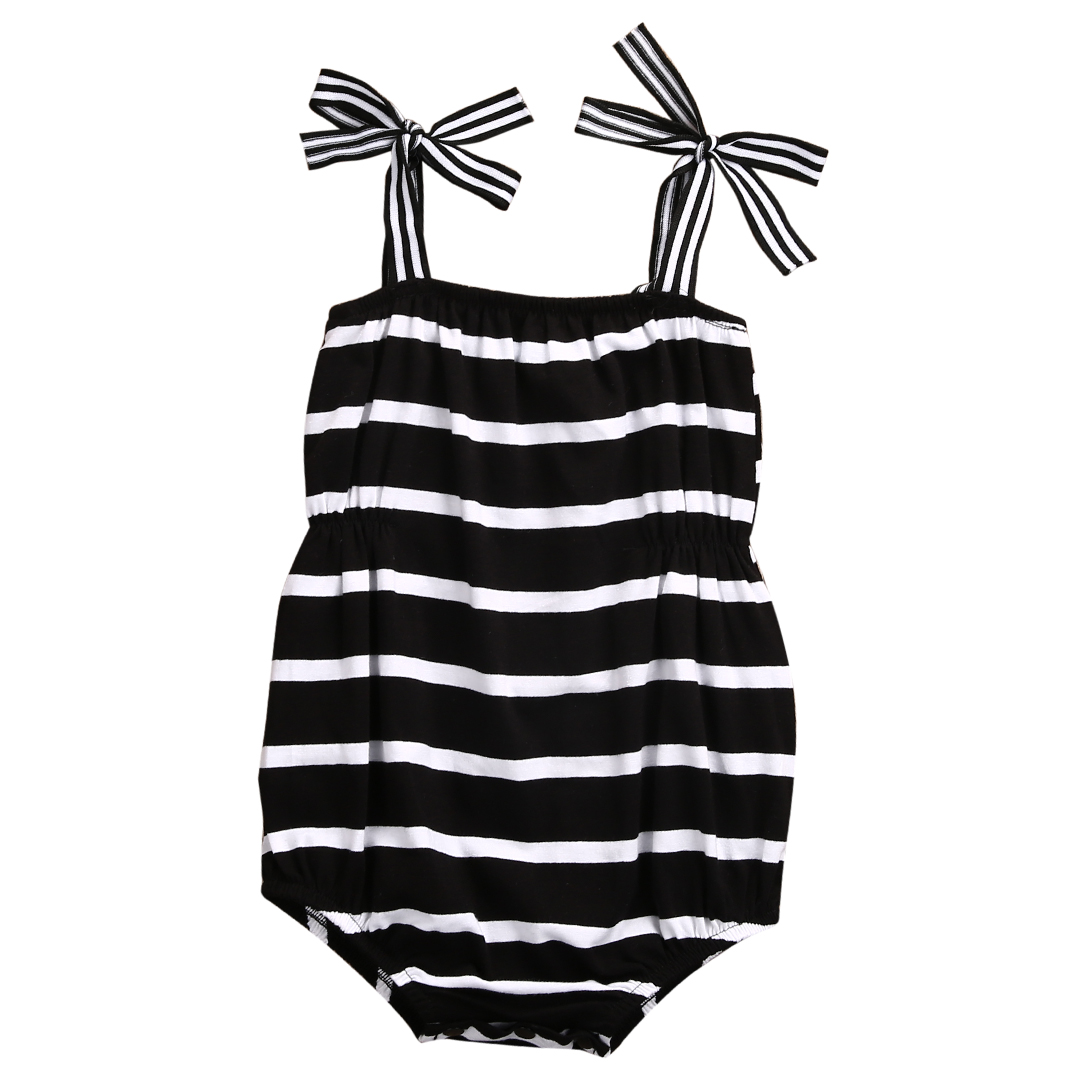 Newborn Infant Baby Girls Romper Jumpsuit 2017 Summer Sleeveless White Black Striped Baby Rompers Sunsuit 0-24M puseky 2017 infant romper baby boys girls jumpsuit newborn bebe clothing hooded toddler baby clothes cute panda romper costumes