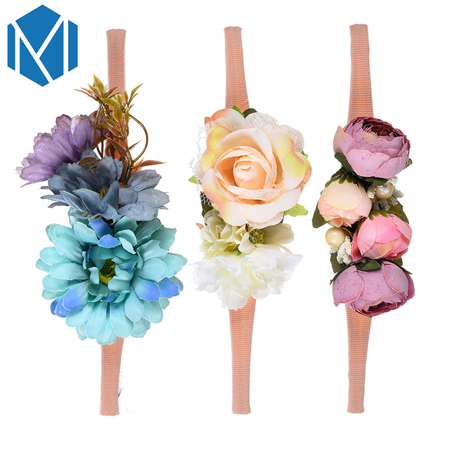 3Pcs Newborn Girl Children Flower Headband Faux Floral Elastic Hair Bands Baby Headwear Hair Accessories Photograph Headdress