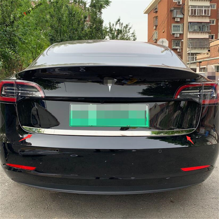 Yimaautotrims Rear Tailgate Trunk Upper Tail Strip Lid Door Bezel Cover Trim Chromium Styling Fit For Tesla Model 3 2018 2019 in Chromium Styling from Automobiles Motorcycles