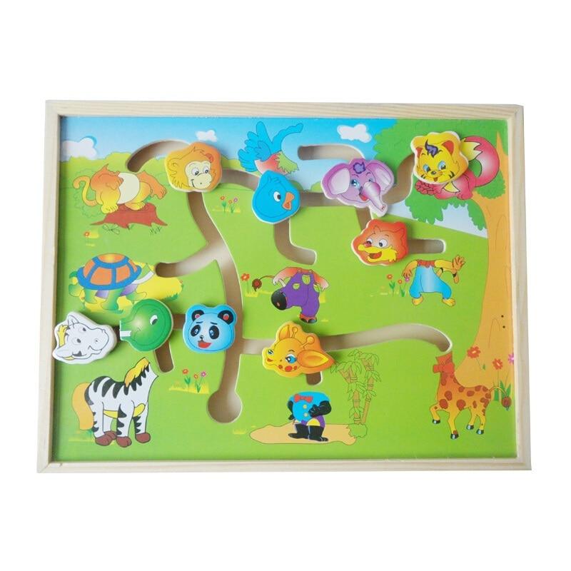 Educational Montessori Labirint din lemn Animal-Body-Match Maze Puzzle Inteligenta Educatie timpurie Copii Jucarii copii WJ330