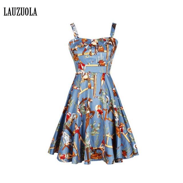 f7bebad6d34 Robe Vintage Dresses 50s 60s Rockabilly Dress 2019 Audrey Hepburn Style  Spaghetti Straps Printed Summer Retro Dress for Women
