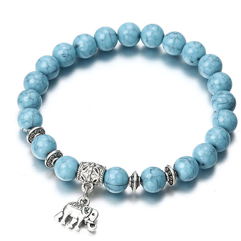Tibetan Sliver Plated Turquoise Beads Elephant Pendant Rope Anklet To Rank First Among Similar Products Fashion Jewelry