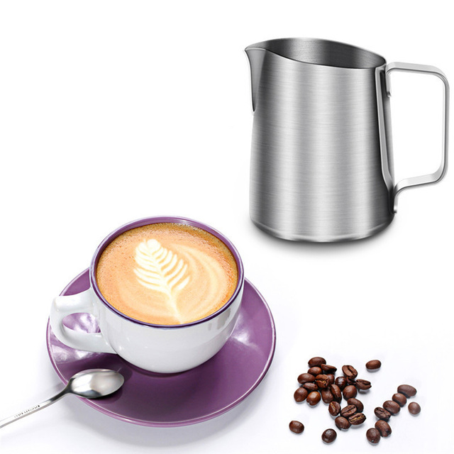 New Stainless Steel Coffee Frothing Pitcher Garland Cup Drinkware For Tea Mocha Cuccino Milk Cafe Chocolate