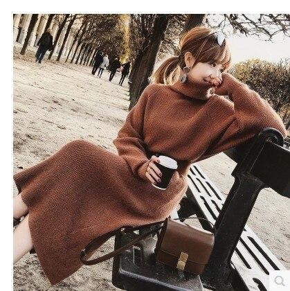 turtleneck female thick render dress with belt Warm Women Sweater Dress 2018 new Fall Winter Long Dresses oose Knitted Dress