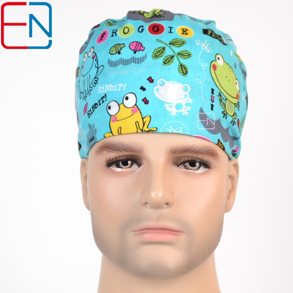 Hennar Surgical Scrub Caps For Women Men With Sweatband 100% Cotton Medical Doctors Caps New Hospital Adjustable Operation Caps