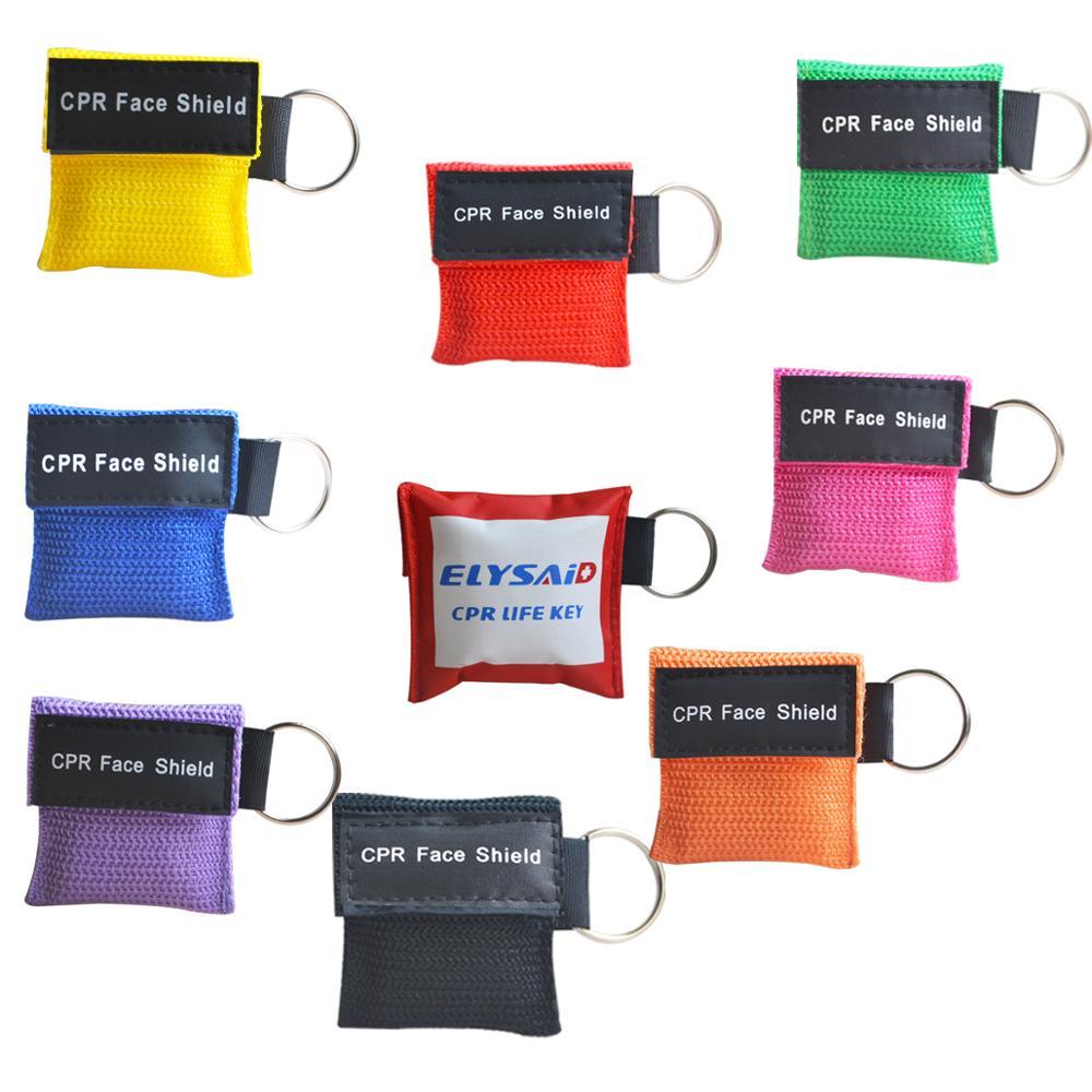 Paquete de 100 piezas CPR máscara de bolsillo o llavero RCP cara escudo con una válvula de respiración barrera de rescate de emergencia uso