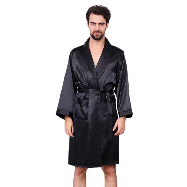 Black Men Silky Satin Robe Long Sleeve Sleepwear Oversized 3XL 4XL 5XL  Summer Kimono Bathrobe Casual Dressing Gown Nightwear 9dfa2d501