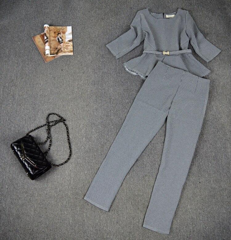 RG Jesen Modna Ženska Ležerna odijela Ruffles Top Houndstooth - Ženska odjeća - Foto 2