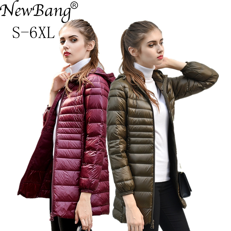 NewBang Brand 6XL 7XL Women's Jacket Large Size Long Ultra Light Down Jacket Women Winter Warm Windproof Lieghtweight Down Coat