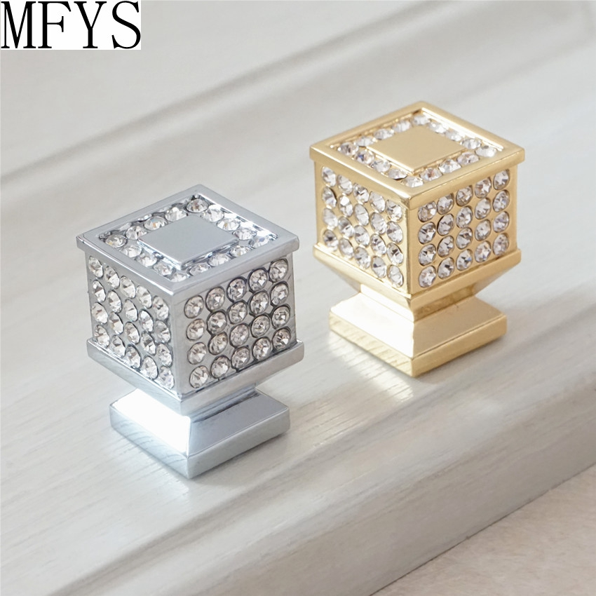 Crystal Drawer Knobs Glass Silver Gold Clear Dresser Pulls ...