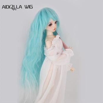 Sd bjd muñeca peluca 1/3 1/4 1/6 en el sub-rizado bell lily Ola Azul muñeca pelo Peluca de bricolaje rizos pelo tejido bjd muñeca peluca 799