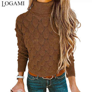 LOGAMI Sweater Jumper Pullovers Fish-Scale Turtleneck Knitted Long-Sleeve Autumn Winter