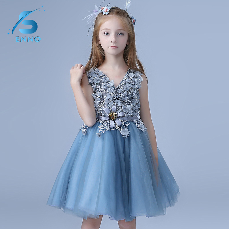 Blue Lace Flower Fancy Baby Girls Kids Clothes Children Infanta Dress New Brand Baby Girl Dress Princess Girls Party Dresses baby girls clothes of kids 2016 children brand dress for clothes girls flower red palace style princess children s dresses dress