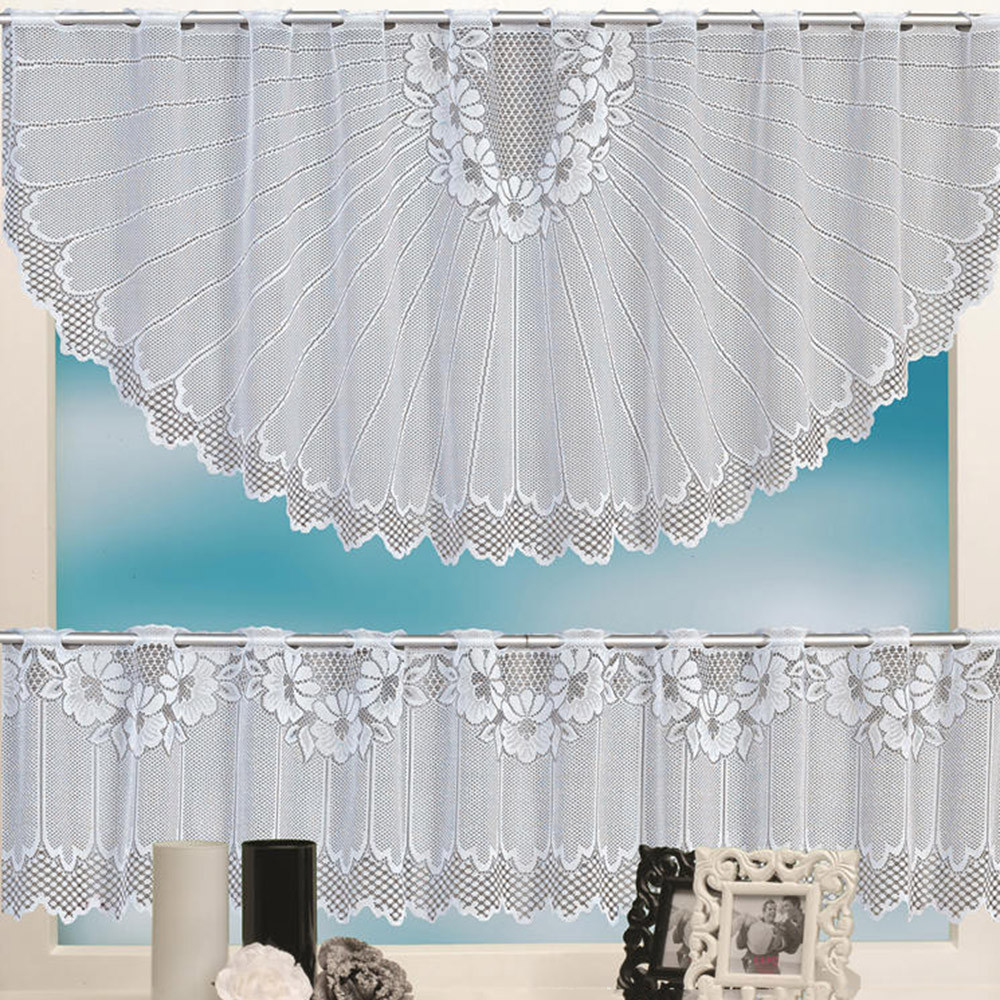 2018 New Arrival 2pcs Lace Coffee Cafe Window Tier Curtain